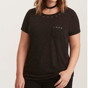 Torrid Dark Gray Grommet Pocket Tee Linen Blend